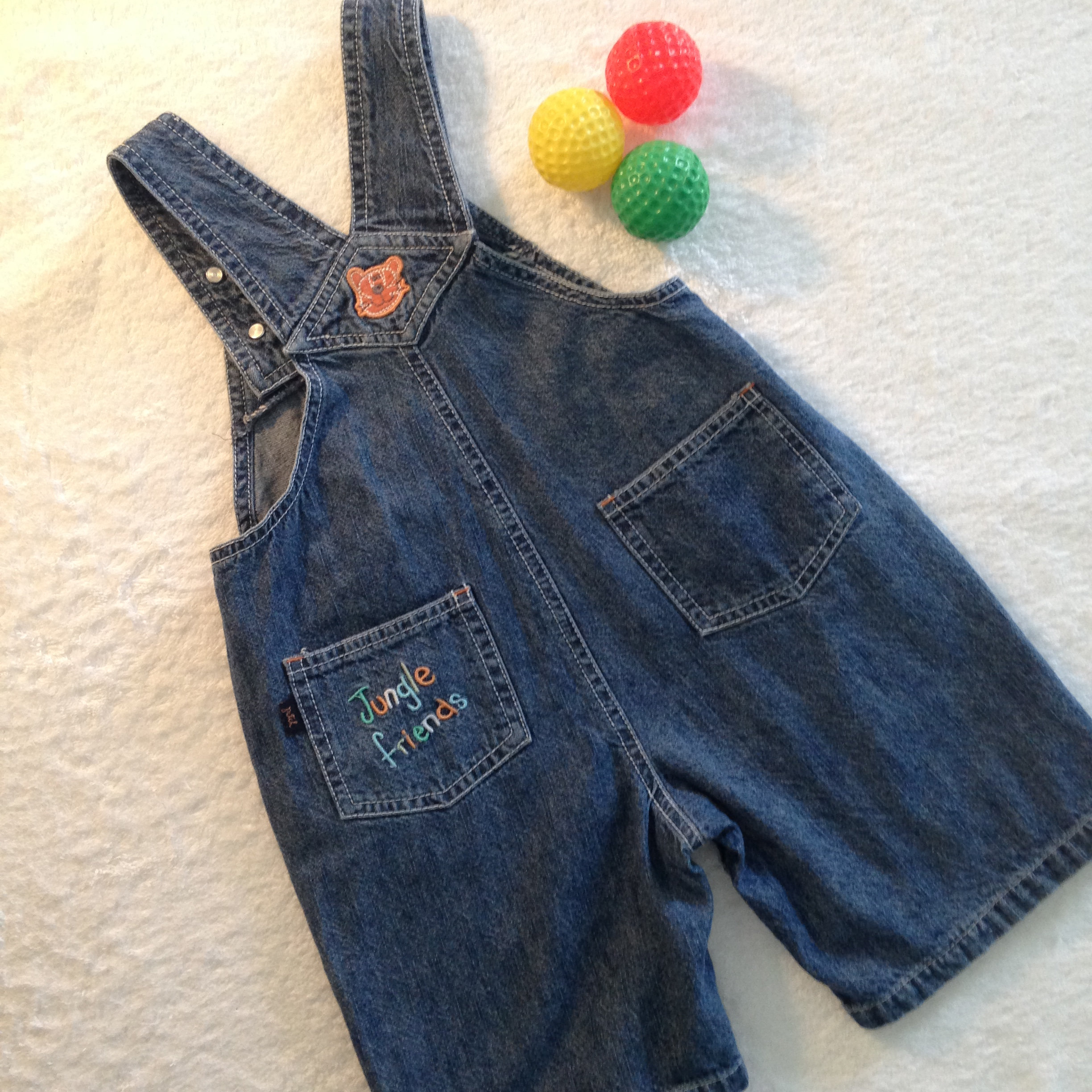64ac92452 ... Patch Denim Overalls - Baby Boy's Size 1 - lightwerigt denim - overalls  with bib with elehant pic - adjustable button straps - bib, back & front  pockets ...