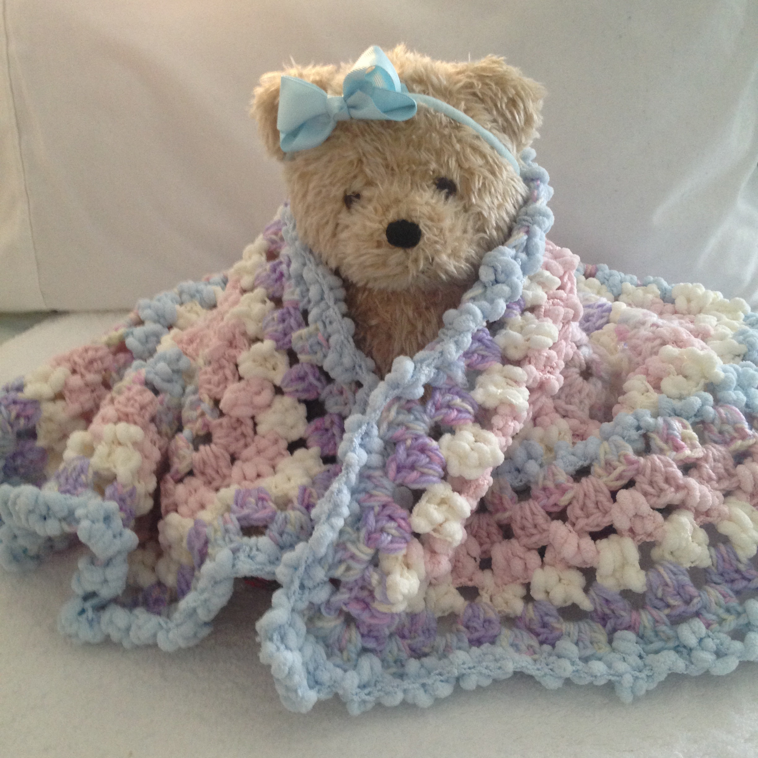 Bubba Cuddle Blankee Homemade Crochet Throw Rug For Pram Cot Or Bed 70cm