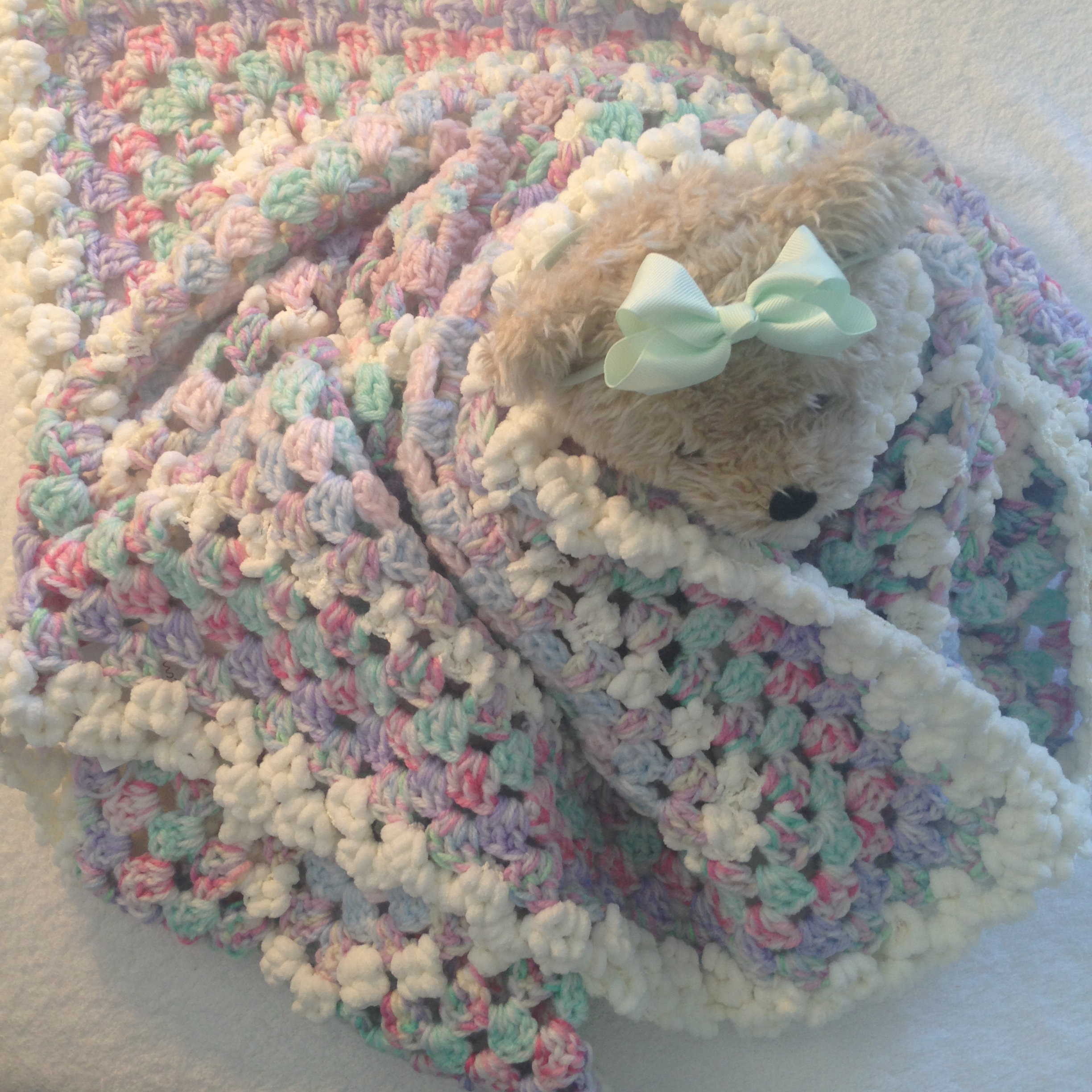Bubba Cuddle Blankee Homemade Crochet Throw Rug For Pram Cot Or Bed 115cm