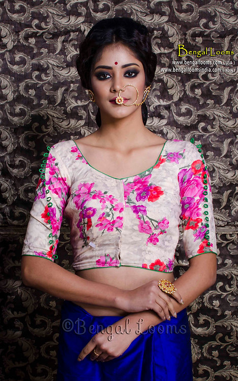 Floral Printed Designer Saree Blouse in Off White and Pink, Size 32