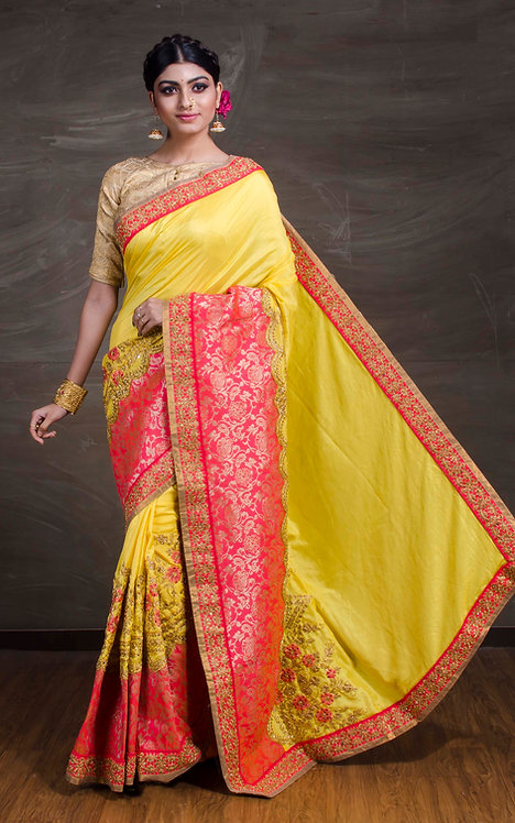 Designer Zardosi Work Banarasi Saree in Yellow and Pink