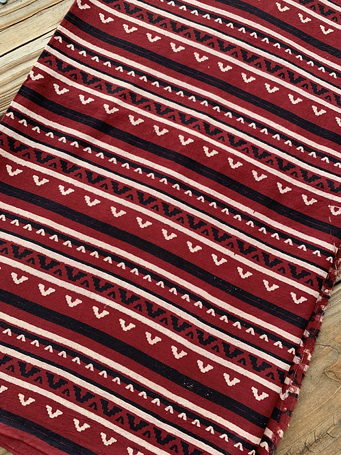 Hand Blocked Cotton Ajrakh Blouse Fabric in Dark Red, Black and White