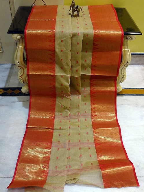 Bengal Handloom Cotton Saree with Starch in Beige and Red