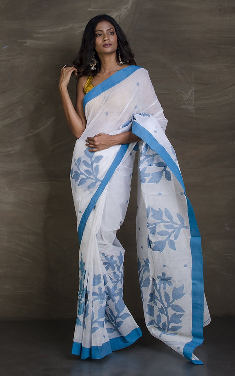Handwoven Cotton Jamdani Saree with Starch in White and Blue