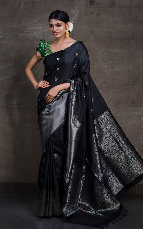 Soft Silk Kanchipuram Saree in Chrome Black and Silver