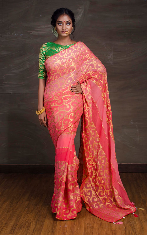 Designer Chiffon Banarasi Saree in Pink and Gold