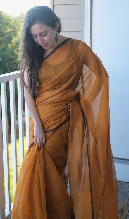Soft Cotton Saree in Burnt Brown and Black
