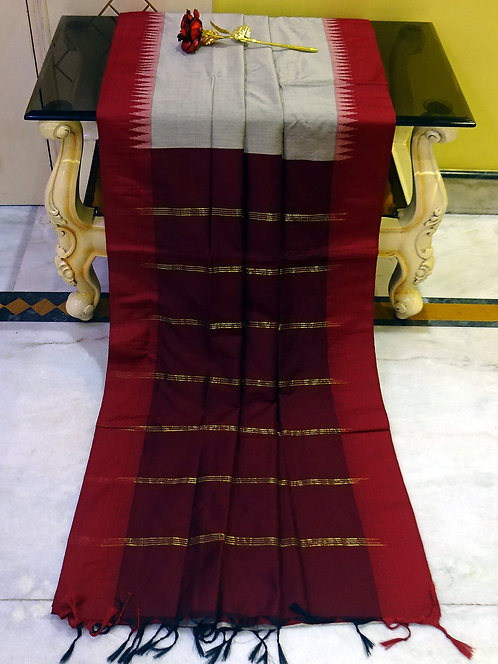 Soft South Cotton Gadwal Saree in Gray and Maroon