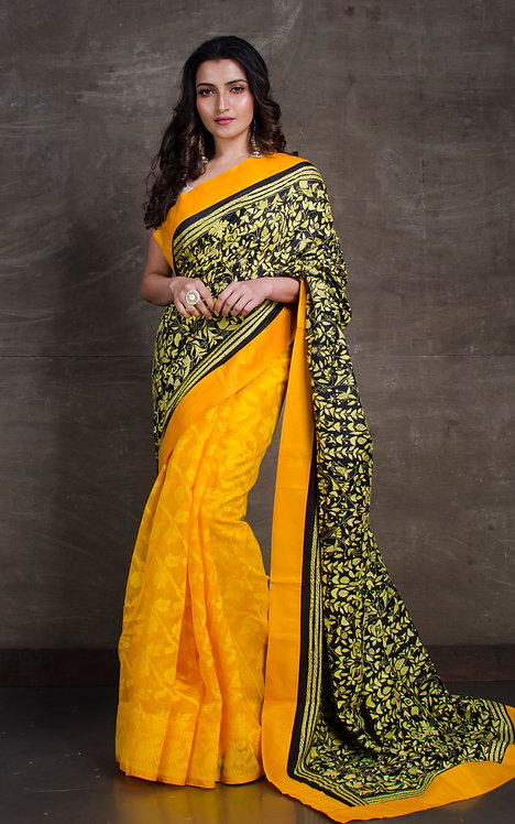 Hand Embroidered Half Kantha Silk and Half Jamdani Saree in Yellow and Black