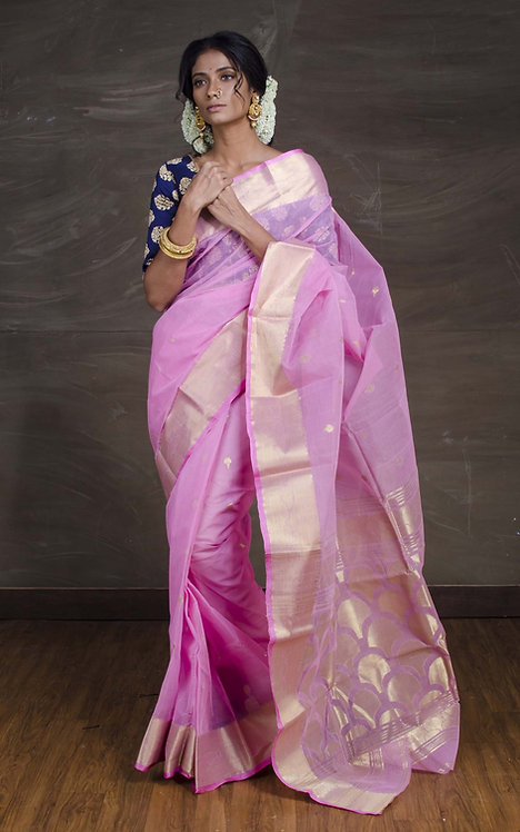 Bengal Handloom Cotton Saree with Starch in Pink and Gold