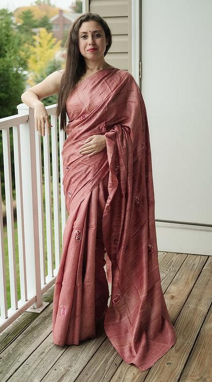 Embroidered Gicha Tussar Saree in English Brown