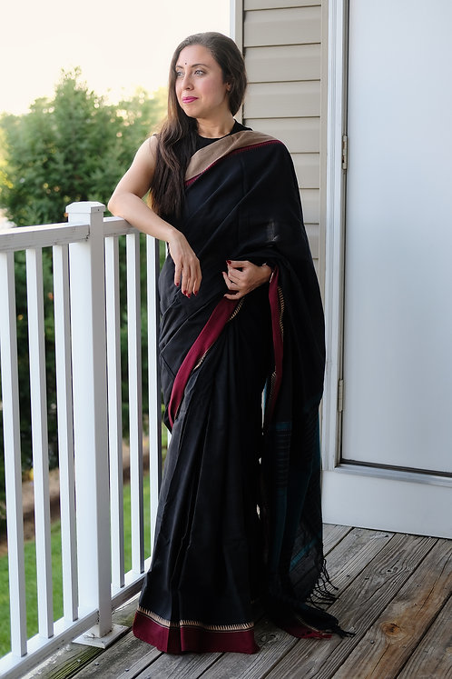 Khadi Soft Cotton Saree with Ganga Jamuna Border in Black, Red and Green