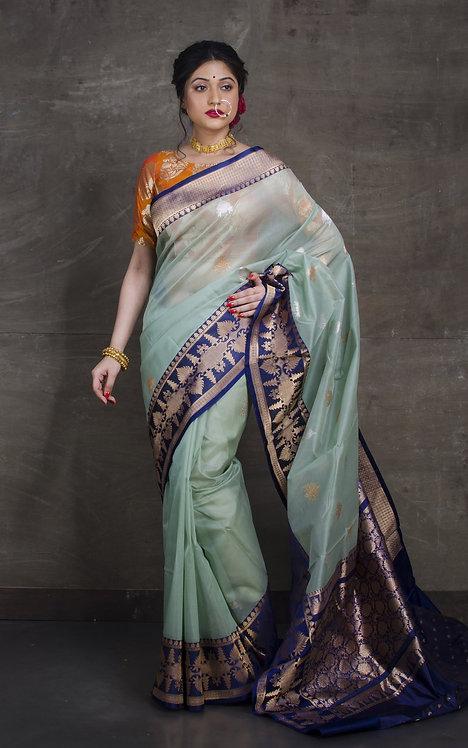 Pure Kora Banarasi Saree in Pistachio Green, Dark Blue, Silver and Gold
