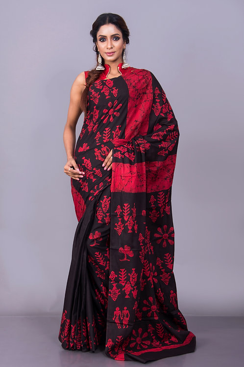 Cotton Batik Saree in Red and Black