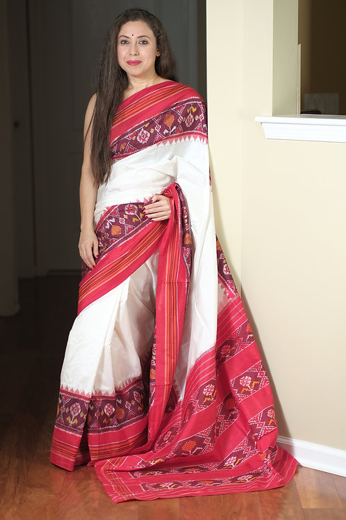 Double Ikat Pochampally Silk Saree in Off White, Wine and Red