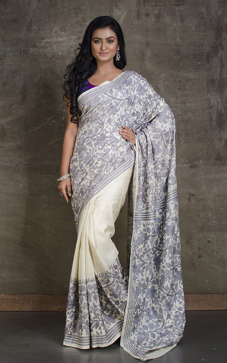 Hand Embroidery Kantha Stitch Saree on Pure Silk in Off White and Gray