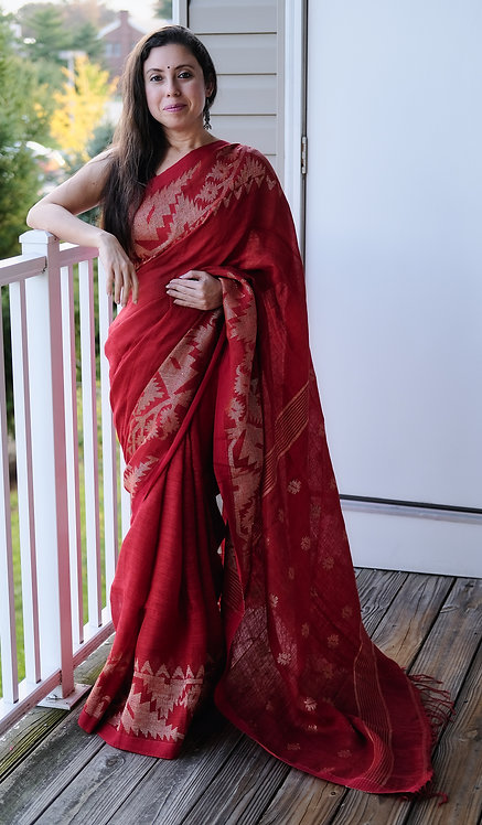 Pure Linen Jamdani Saree in Red and Antique Gold