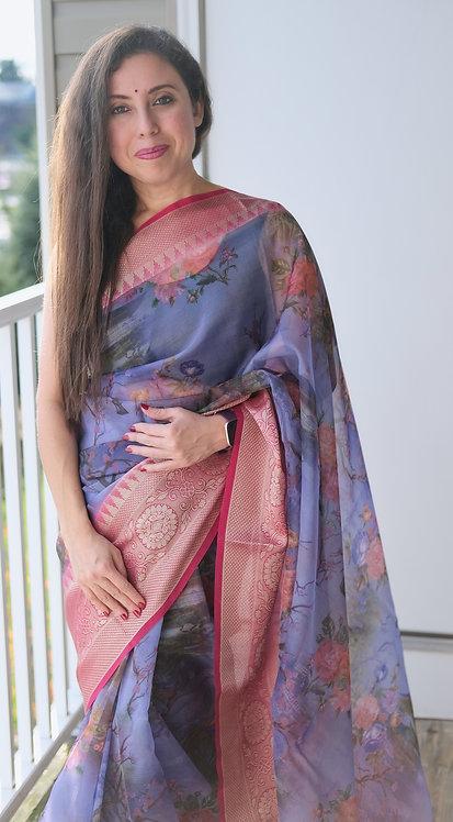 Semi Organza Banarasi Saree with Digital Print in Blue and Dark Pink
