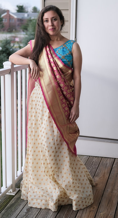 Banarasi Silk Flared Long Skirt in Cream, Gold and Rani