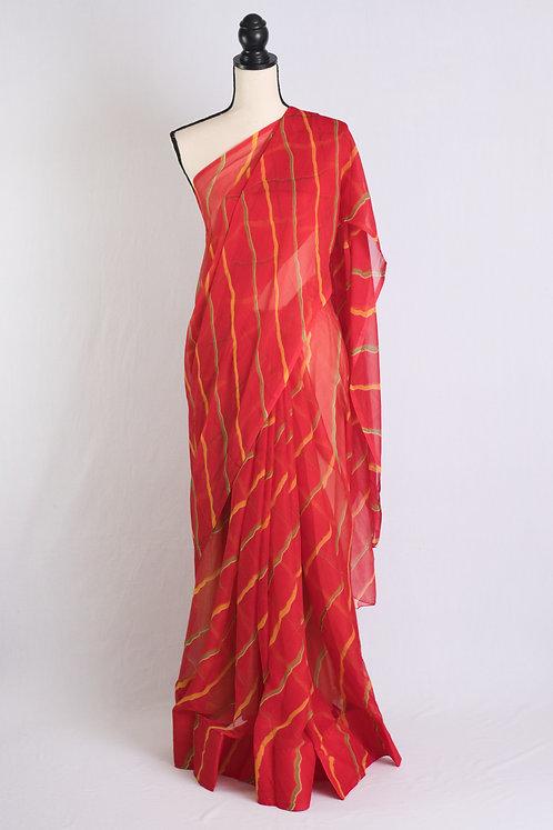 Chiffon Leheriya Saree in Red