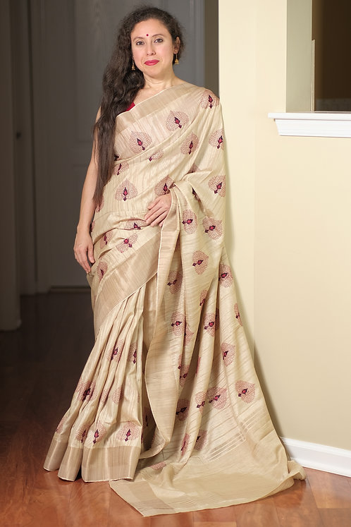 Embroidery Work Semi Tussar Saree in Beige and Dark Red
