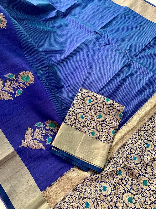 Pure Tussar Banarasi Saree in Peacock Blue and Brushed Gold
