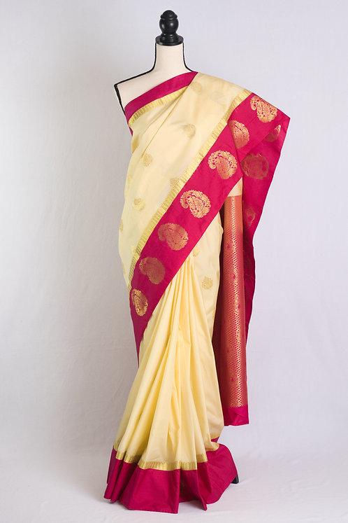 Blended Silk Kanjivaram Saree in Cream, Dark Pink and Gold