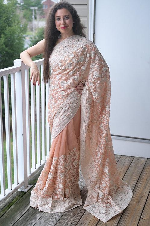 Shimmer Georgette Chikankari Saree in Light Orange and White