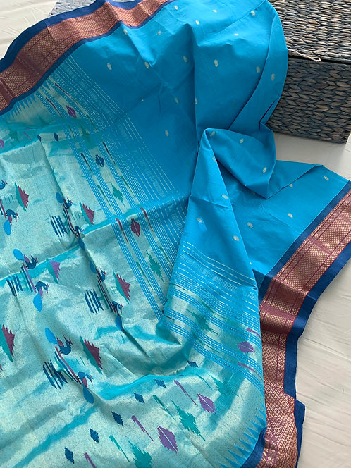 Handwoven Authentic Cotton Paithani Saree in Sky Blue and Silverish Gold