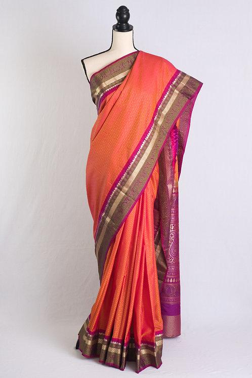 Blended Silk Kanjivaram Saree with Thread Border in Orange, Magenta and Green
