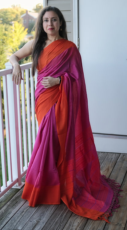 Khadi Soft Cotton Saree in Pink and Orange