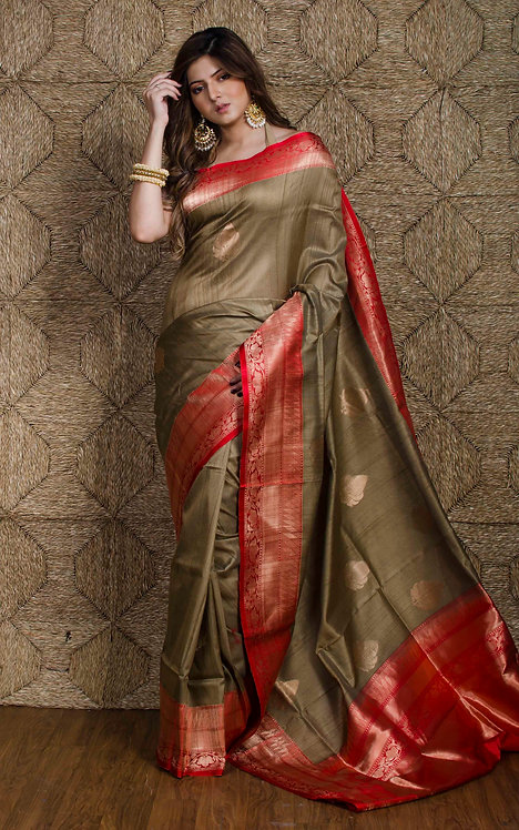 Premium Quality Tussar Banarasi Saree in Beige and Red