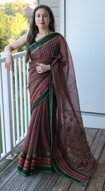 Bengal Handloom Soft Cotton Saree in Dark Brown