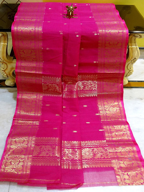 Bengal Handloom Cotton Saree with Starch in Hot Pink and Gold