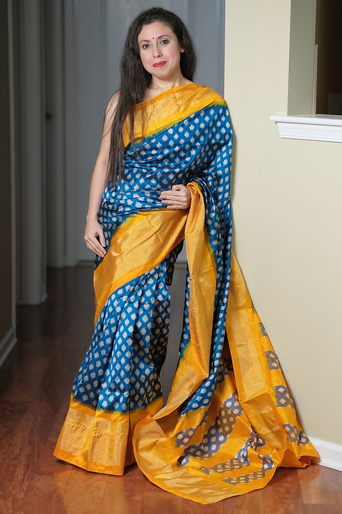Pochampally Ikat Silk Saree in Blue and Yellow