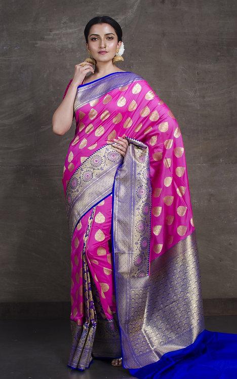 Semi Silk Opara Patli Pallu Banarasi Saree in Pink and Royal Blue