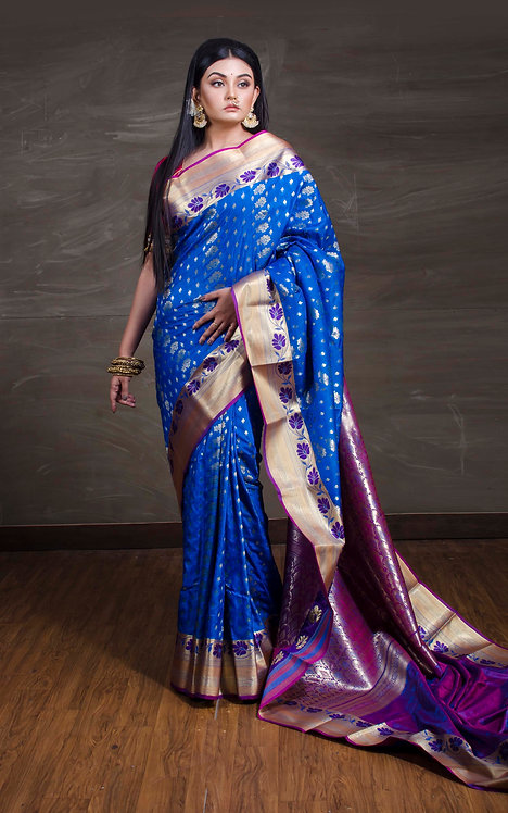 Art Silk Kanchipuram Saree in Blue and Magenta