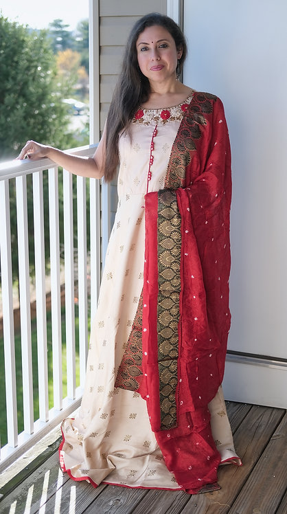 Indian Long Silk Gown with Zari Work Net Dupatta in Cream and Red