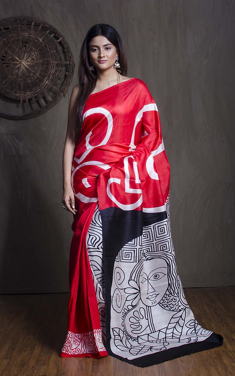 Printed Pure Silk Saree in Red, Black and White