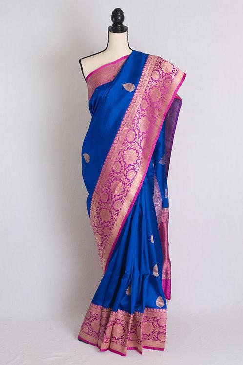Pure Katan Silk Banarasi Saree in Blue and Pink