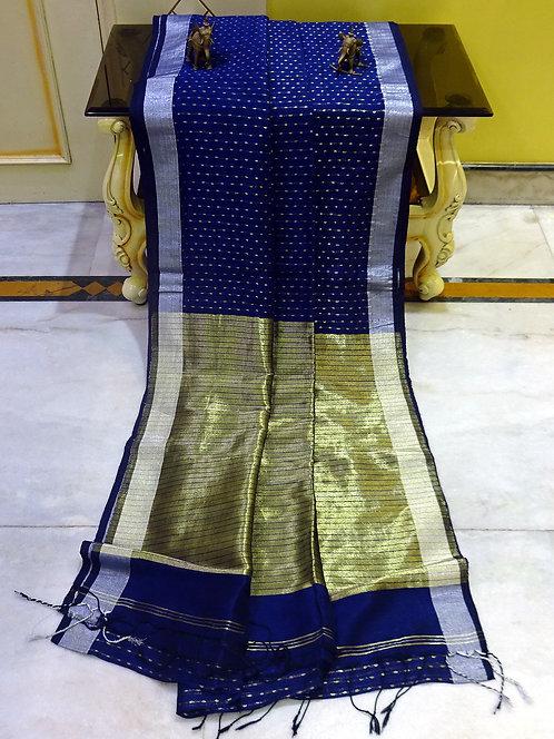 Small Dots Motif Linen Banarasi Saree in Dark Blue, Gold and Silver