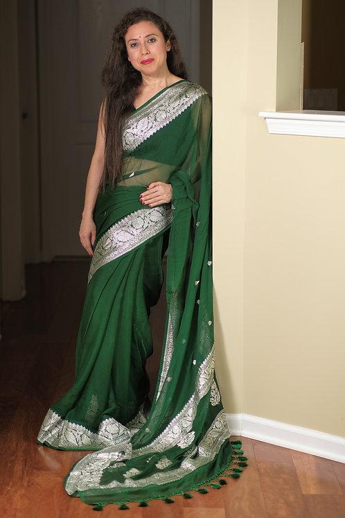 Pure Chiffon Banarasi Saree with Silver Zari in Dark Green