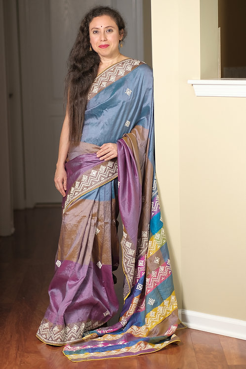 Kutch Work on Pure Bishnupur Katan Silk Saree in Mauve, Brown and Blue