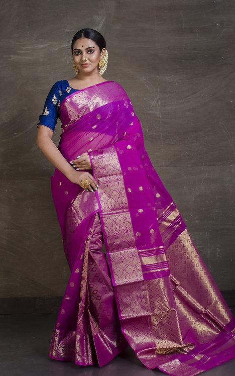 Bengal Cotton Banarasi Saree in Patli Pallu  with Starch in Purple and Gold