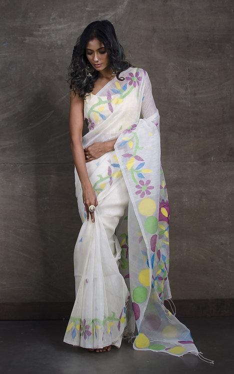 Pure Silk Linen Jamdani Saree in White