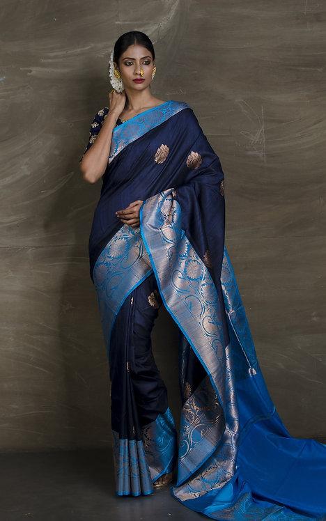 Tussar Banarasi Silk Saree in Dark Blue and Blue