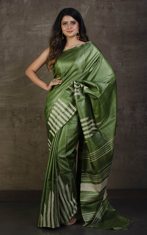 Pure Tussar Kosa Silk Saree in Pickle Green and Beige