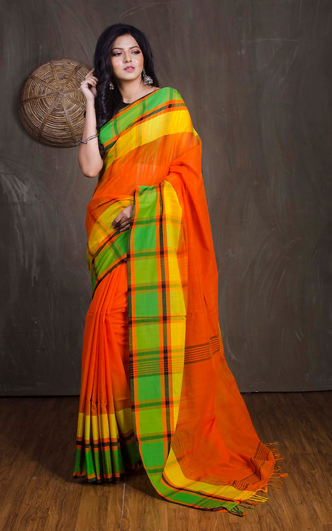 Soft Cotton Checks Border Saree in Orange
