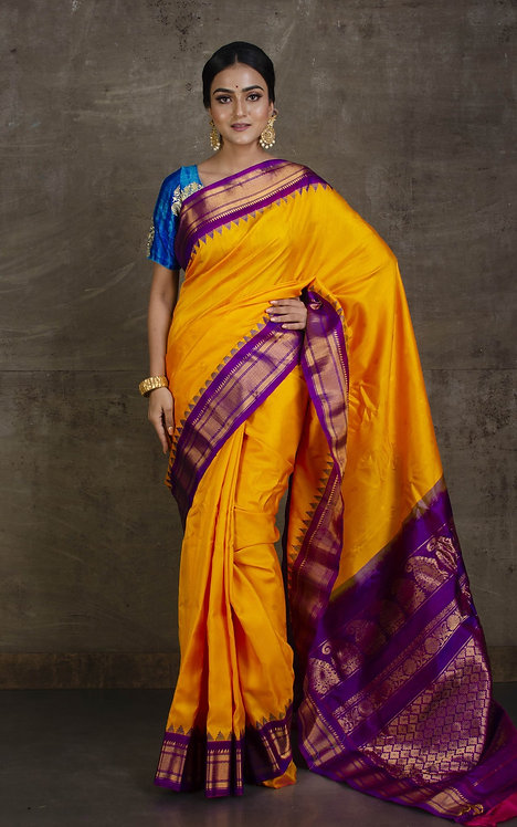 Exclusive Gadwal Silk Saree in Golden Yellow and Purple