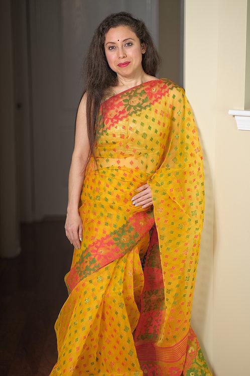 Minakari Jamdani Saree with Starch in Yellow, Green and Red